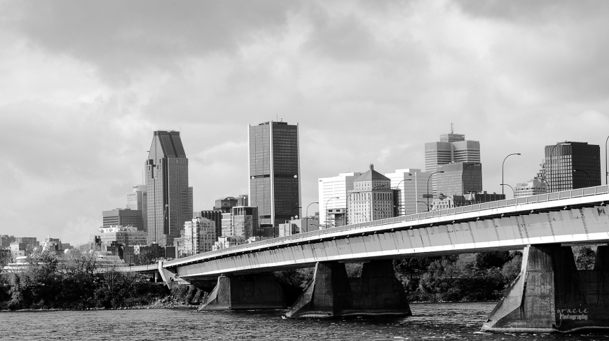 Bridge to the city in black and white
