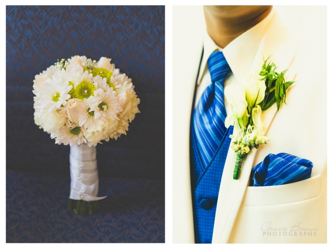 bridal bouquet and groom's buttoniere